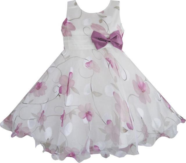Sunny Fashion платье нарядное для девочки детские платья Фиолетовый цветок лук галстук свадьба Детские одежды детей 3-8 лета девушки принцессы платья Vestidos