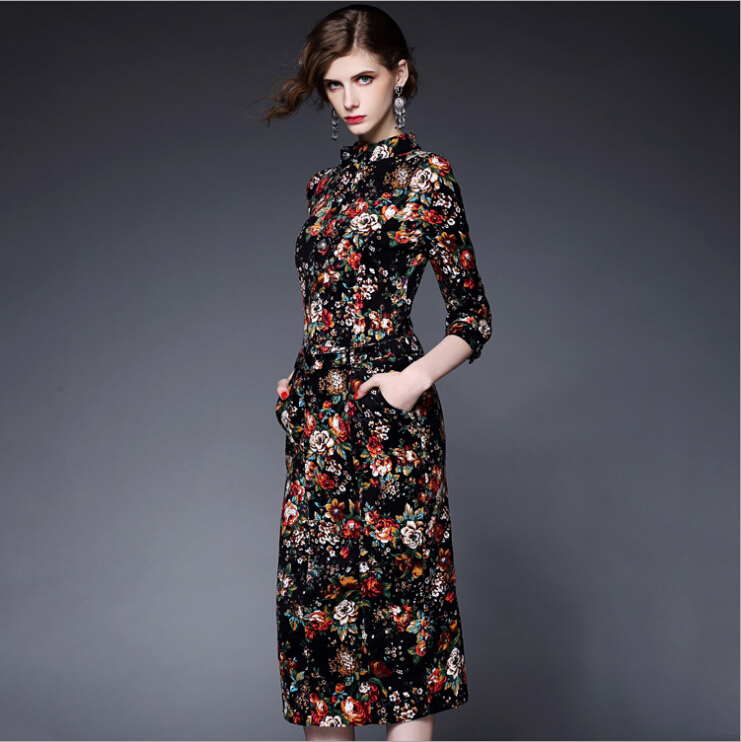 1b101dd2b60 Women Dress 2015 Autumn New Long Sleeve Printing Designer Western Wear Best  Seller Clothing Plus Size Ladies Dresses Online-in Dresses from Women s  Clothing ...