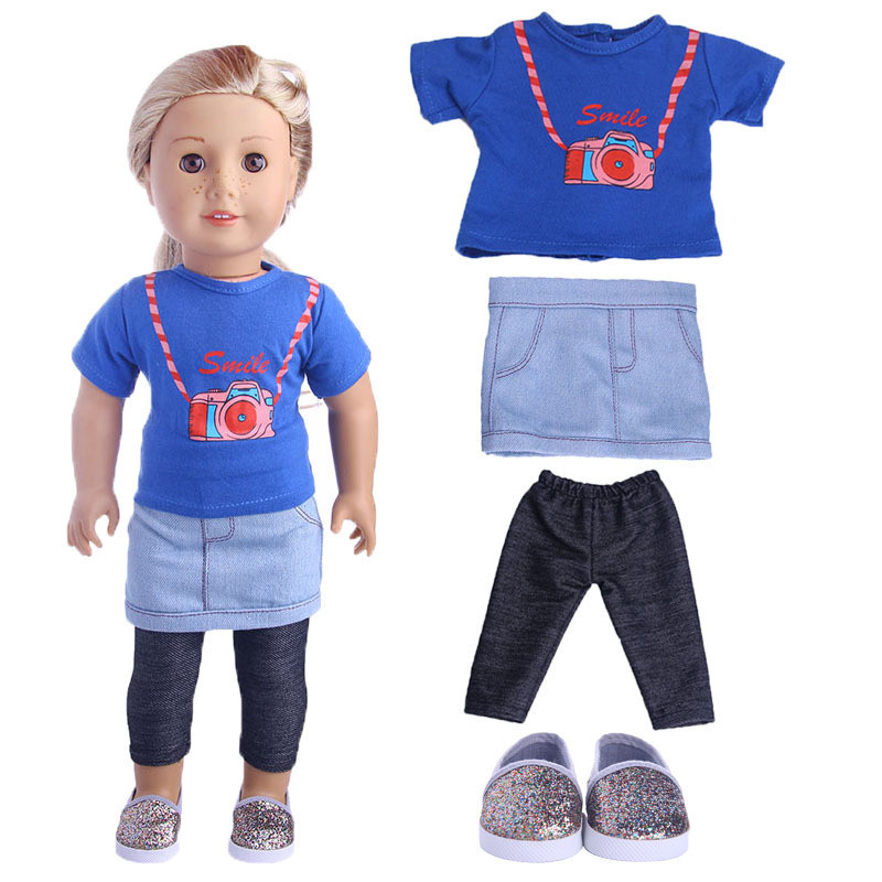 3 in 1 Doll Clothes set for 18inch 45cm American Girl doll clothes mini skirt + coat + base shirt for baby doll