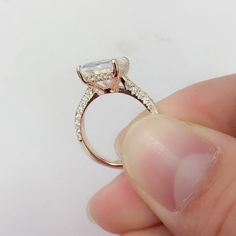 LESF luxe 6 Ct 925 bagues en argent Sterling pour femmes or Rose bague de fiançailles mariage SONA diamant femmes bijoux - 6