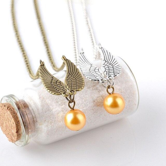 Wholesale Movie HP Snitch Gold necklace Vintage Fashion Chain Necklace For Women&Men Charms 24pcs/lot