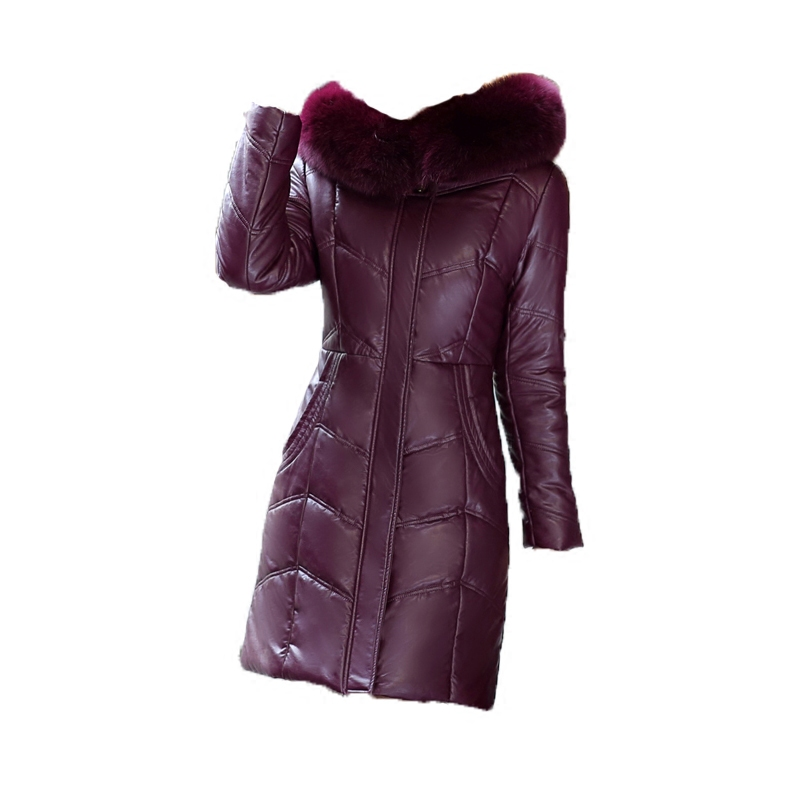 Fourrure 8xl Violet En Cuir Femmes Épaisse 2017 grape Mince Nouvelles Coton green red L La black De gray Manteau violet Femme Plus Mode Champagne L15 purple Hiver Long Grand Col Taille Veste TkiZuOPX