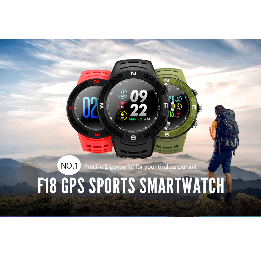 NO.1 F18 GPS Sports Smartwatch Bluetooth 4.2 IP68 Waterproof Smart Watch Message Reminder Pedometer Sleep Monitoring Wristwatch image