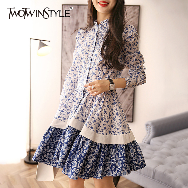 TWOTWINSTYLE Prairie Chic Print Dress For Women Stand Collar Long Sleeve High Waist Lace Up Mini Dresses Female 2019 Summer