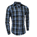 New Fashion 2016 Spring AutumnMens Plaid Shirts Long Sleeve Men Slm Fit Casual Social Shirt Camisa Masculina 13M0484