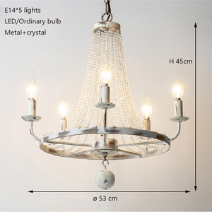 Image 2 - Retro Vintage luxury American country style big LED crystal chandelier lamp lustres modern E14 lights for hotel living room