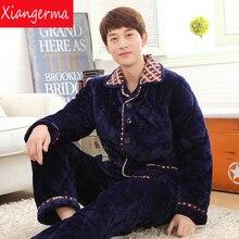 Пижама атласная дома Conjunto Inverno adulto натуральный хлопок пижамы продажа с длинными рукавами мужские пижамы простой badjas mannen Бесплатная доставка