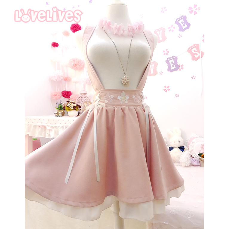 Japanese Style Sweet Lolita Girls Short Skirt Sakura Embroidery Young Girl Bestie Ribbon Suspender Skirt Women Summer
