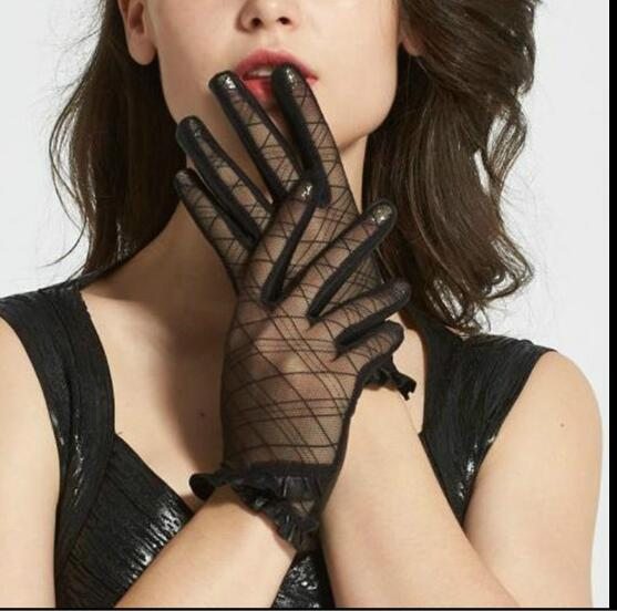 Women's Sexy Black Lace Patchwork Genuine Leather Gloves Female Natural Leather Touch Screen Motorcycle Driving Glove R810