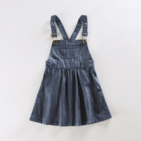 New fashion baby girls denim princess dress kids overalls jeans autumn winter casual striped dress for girls school clothing