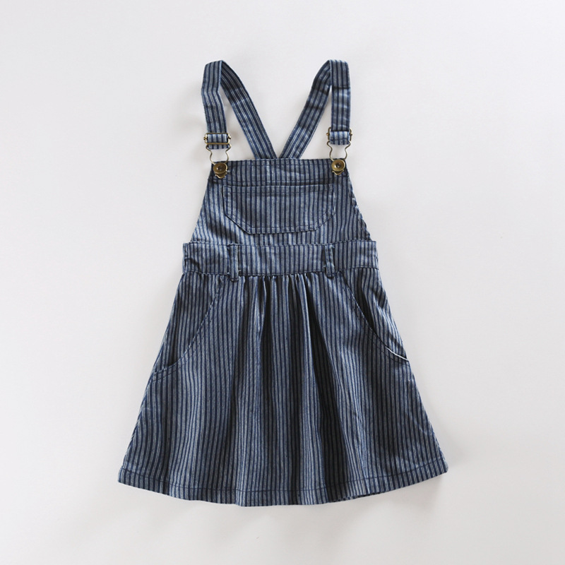 цена на New fashion baby girls denim princess dress kids overalls jeans autumn winter casual striped dress for girls school clothing