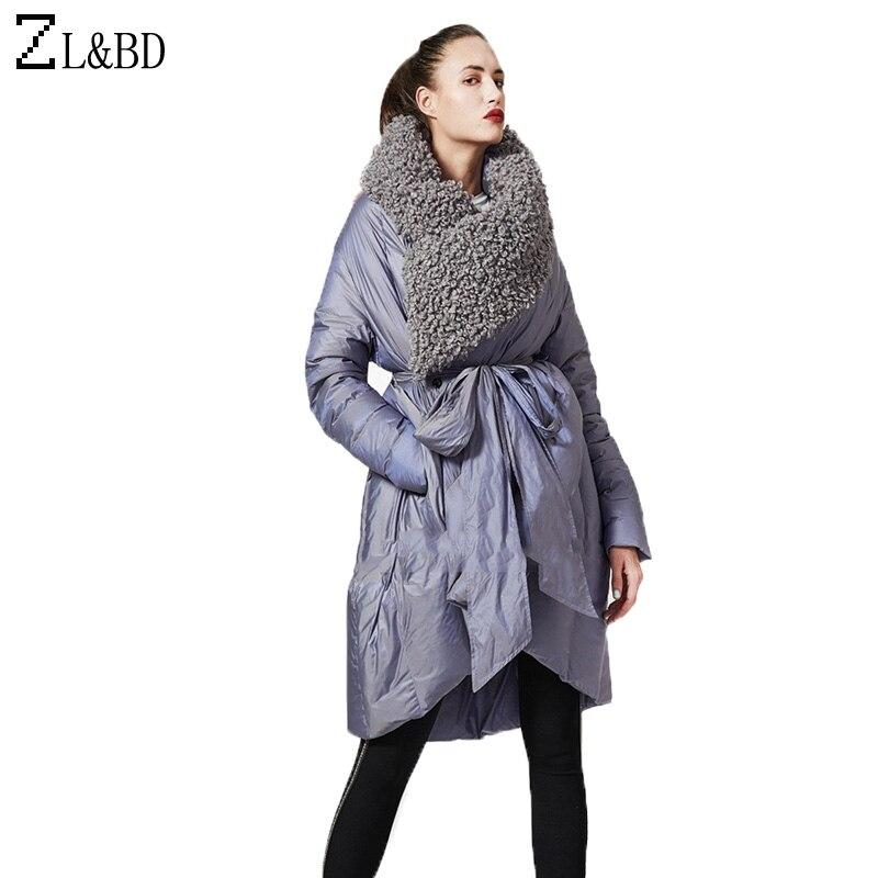 ZL et BD Vintage En Laine D'agneau Revers Manteau Vers Le Bas Manteau 2018 Femmes D'hiver Long Capot Ceinture Duvet de Canard Veste Femme Outwear pardessus ZA1106