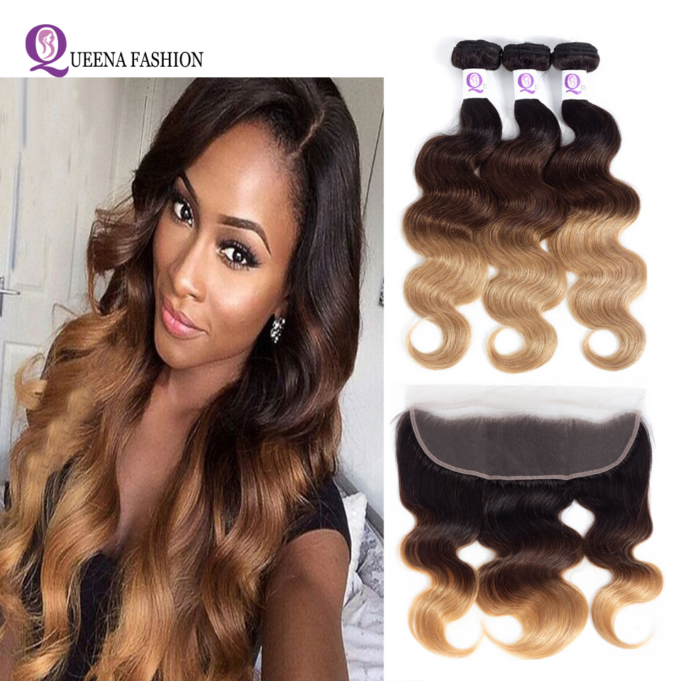 Preplucked Ombre Ear To Ear Frontal Closure With Bundles 1b/4/27 Malaysian Body Wave Bundles With Frontal 100%Human Hair Weaving