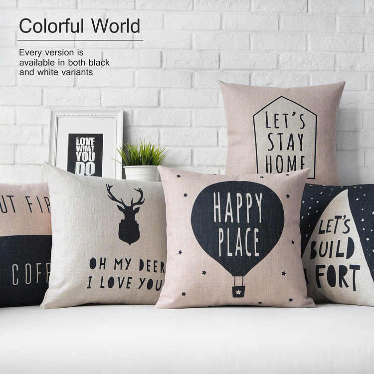 nordic style cushions decorative pillow cover linen grey throw pillows case pink deer geometric cushions cover for sofa 45x45