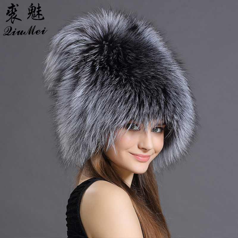 QiuMei Bomber Hats Women Real Fox Fur Bombers Hat Solid Russian Winter Trapper Hats Caps Genuine