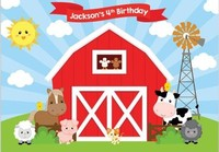 Custom Animal Cute Red Barn Sun Clouds Cow Dog Pig Sheep Birthday background Computer print party backdrops