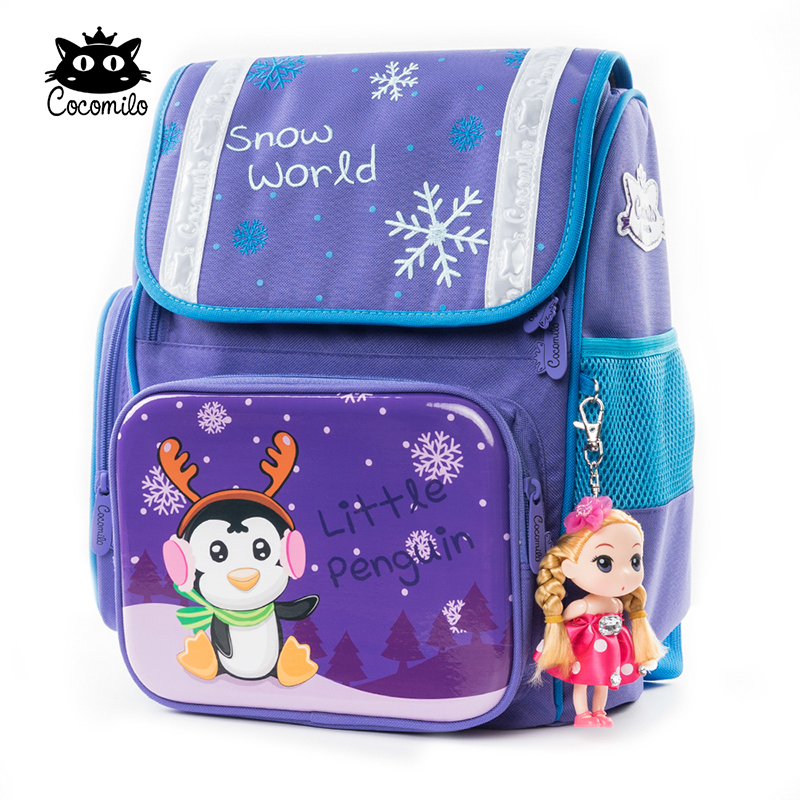 Cocomilo Cute Childrens Backpack Kids Cartoon Snow Orthopedic School Bag for Girls Anime Primary School Bag large for Children