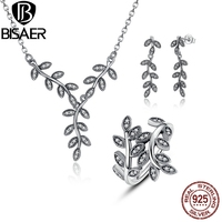 BISAER 925 Sterling Silver Sparkling Leaves Leaf Long Pendant Necklace Silver Jewelry Sets Sterling Silver Jewelry