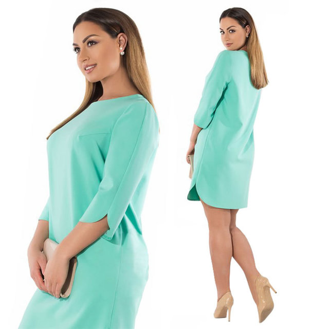 US $11.99 35% OFF|6XL 5XL Plus Size Dress Spring Autumn Women Dress Elegant  Work Office Slit Party Dress Green Pink Big Sizes Vestidos de festa-in ...