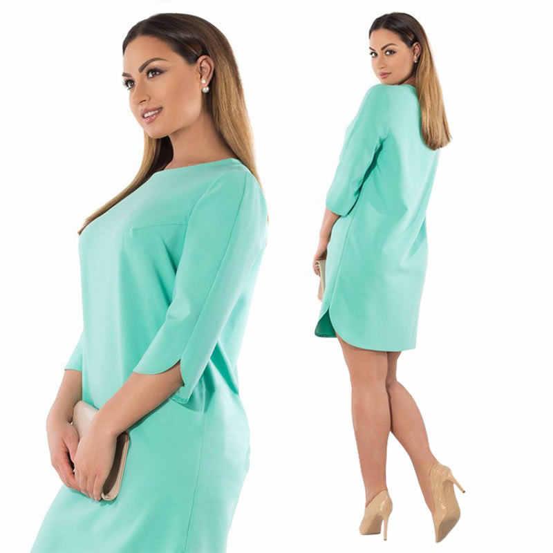 6d67712cec0 6XL 5XL плюс размер платье Весна Осень женское платье элегантный офис  разрез вечерние зеленый розовый большой