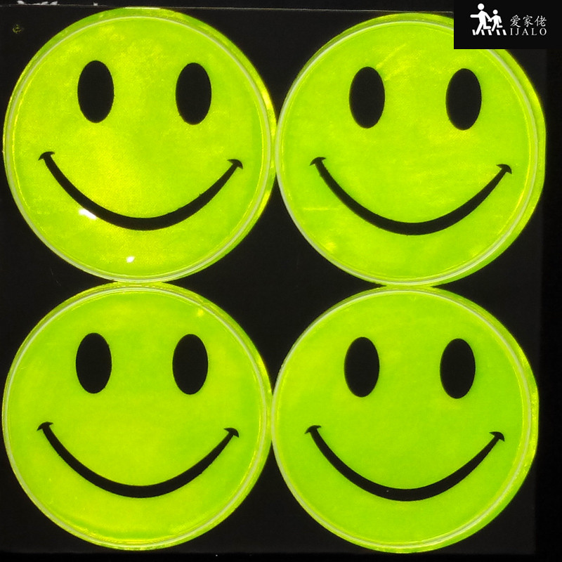 1 Sheet 6.5cm Smile Face Outdoor Traffic Safety Reflective Sticker Cute Stationery Sticker For Bag Bicycle Scooter Motorbike