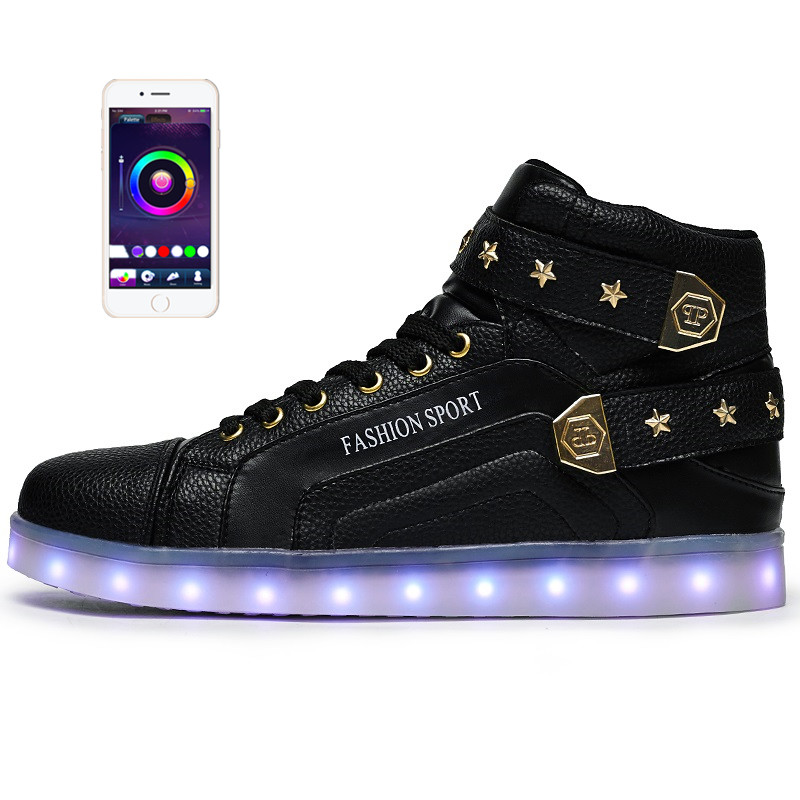 APP/PHONE Control Men Led Sneakers Suede European Style light up Shoes Men  Casual Loafers for Men Flats Casual Shoes glowing sneakers usb charging shoes lights up colorful led kids luminous sneakers glowing sneakers black led shoes for boys