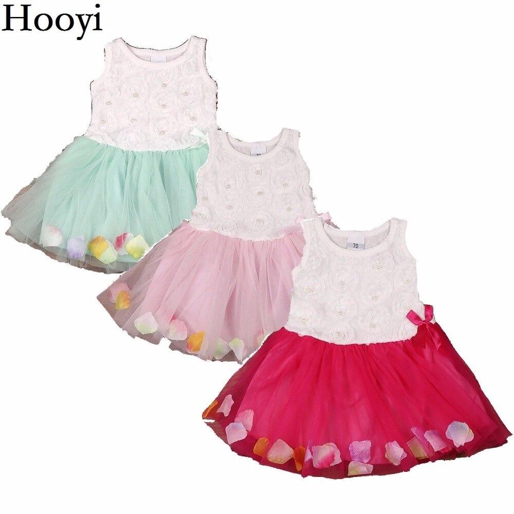 Hooyi Summer Baby Girls Dress Sleeveless Rose Petal Dress Lace Pearl Newborn Dresses Baby Girl Clothes Infantil Vestidos Jumper