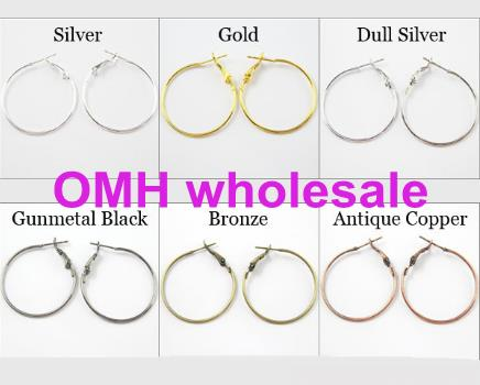 OMH wholesale 20pcs 30mm Jewelry Lot Circle Basketball Wives Hoops Earrings Gold Dull Silver Bronze Plated For Jewelry ZL664