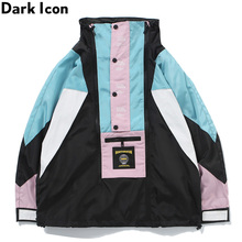 Dark Icon Color Block Windbreak Mens Jacket Stand Collar Back PVC Pocket Street Men 2 Colors