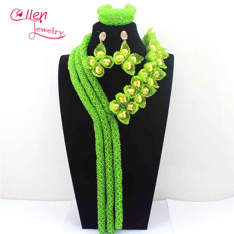 New Apple Green Luxury Nigerian wedding bridal beads necklace African accessories beads jewelry sets dubai beaded jewelry E1139