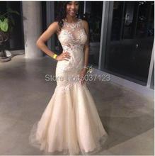 แชมเปญชุดเดรสเมอร์เมด Sheer O คอลูกไม้ Appliques Illusion ชุดเจ้าสาว Plus ขนาด 2019 Vestido De Noiva