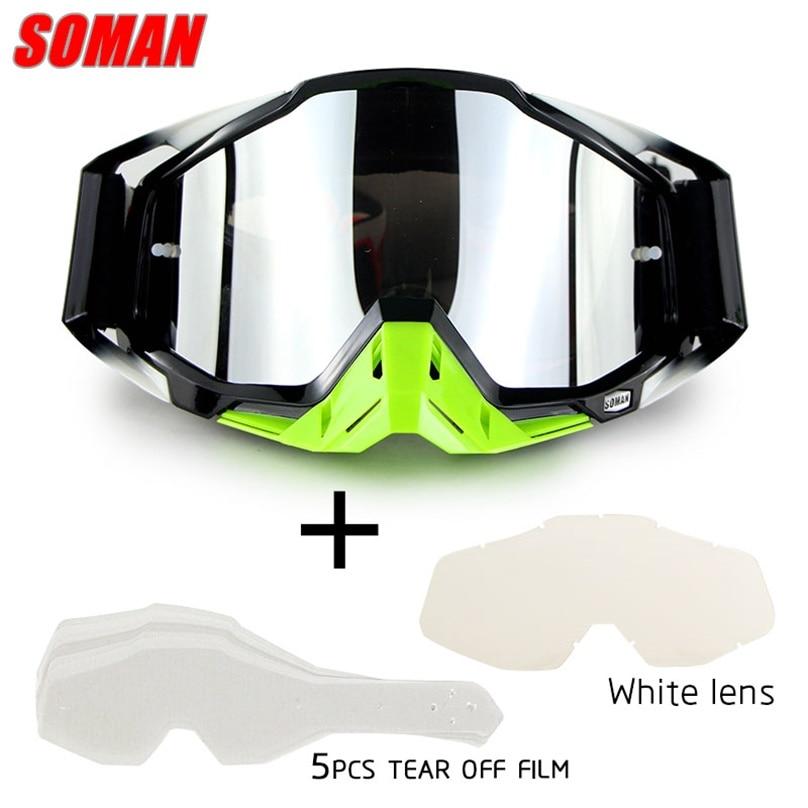 casco da corsa -4PCS casco da motocross verde, M guanti, occhiali, maschere, set da 3 pezzi casco da bicicletta, MIBDF Casco da moto