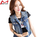 2016 Women Denim Vest Casual Vintage Hole Jacket  Waistcoat Fashion Single Breasted Sleeveless Jean Vest YL345