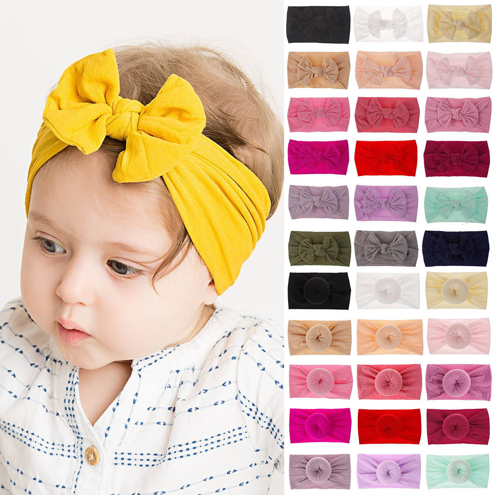 2019 New Soft Nylon Headbands Baby Top Knot Bow Elastic Hairband Round Head Wrap Newborn Girls Kids Hair Accessories