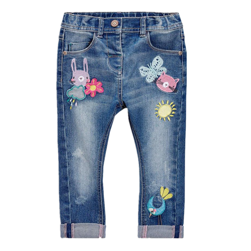 New girls blue jeans pants fashion embroidery denim