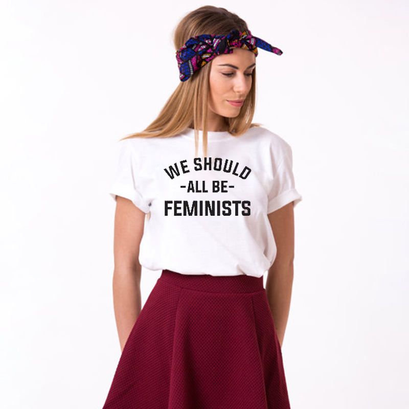 EnjoytheSpirit We Should All Be Feminist Women T-Shirt Funny Short Sleeve Summer Top Crewneck Soft 100% Cotton Good Quality