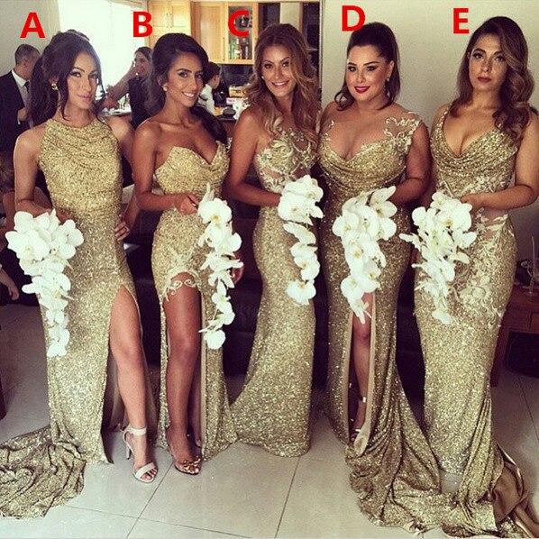 Robes de mariée longues Sexy en or 2019 robes de demoiselle d'honneur pas cher sirène licou paillettes fente scintillante