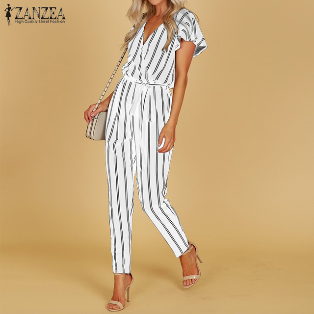 ZANZEA 2018 Striped Jumpsuit Women Hight Waist Casual Trousers Ladies Sexy V Neck Belted Bodysuit Workwear Overall Plus Size 5XL