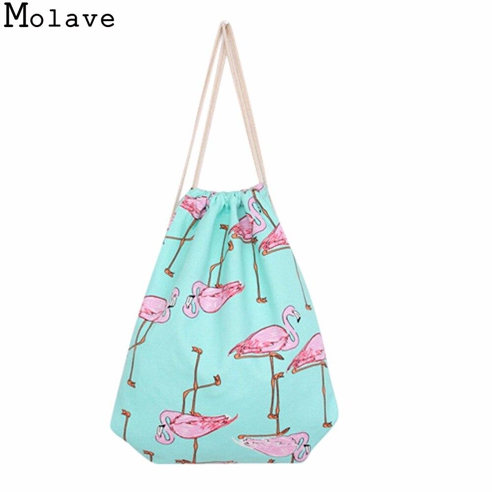 Women Drawstring Flamingos 3D Printing Mochilla Females Casual Gift Candy Travel Beach Bag 2017 New Shopping Bag Apr22