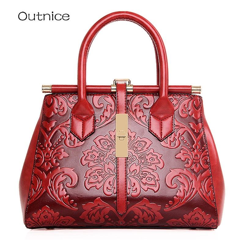 2017 vintage embossed leather luxury women bags designer handbags elunico ladies boho top handle. Black Bedroom Furniture Sets. Home Design Ideas