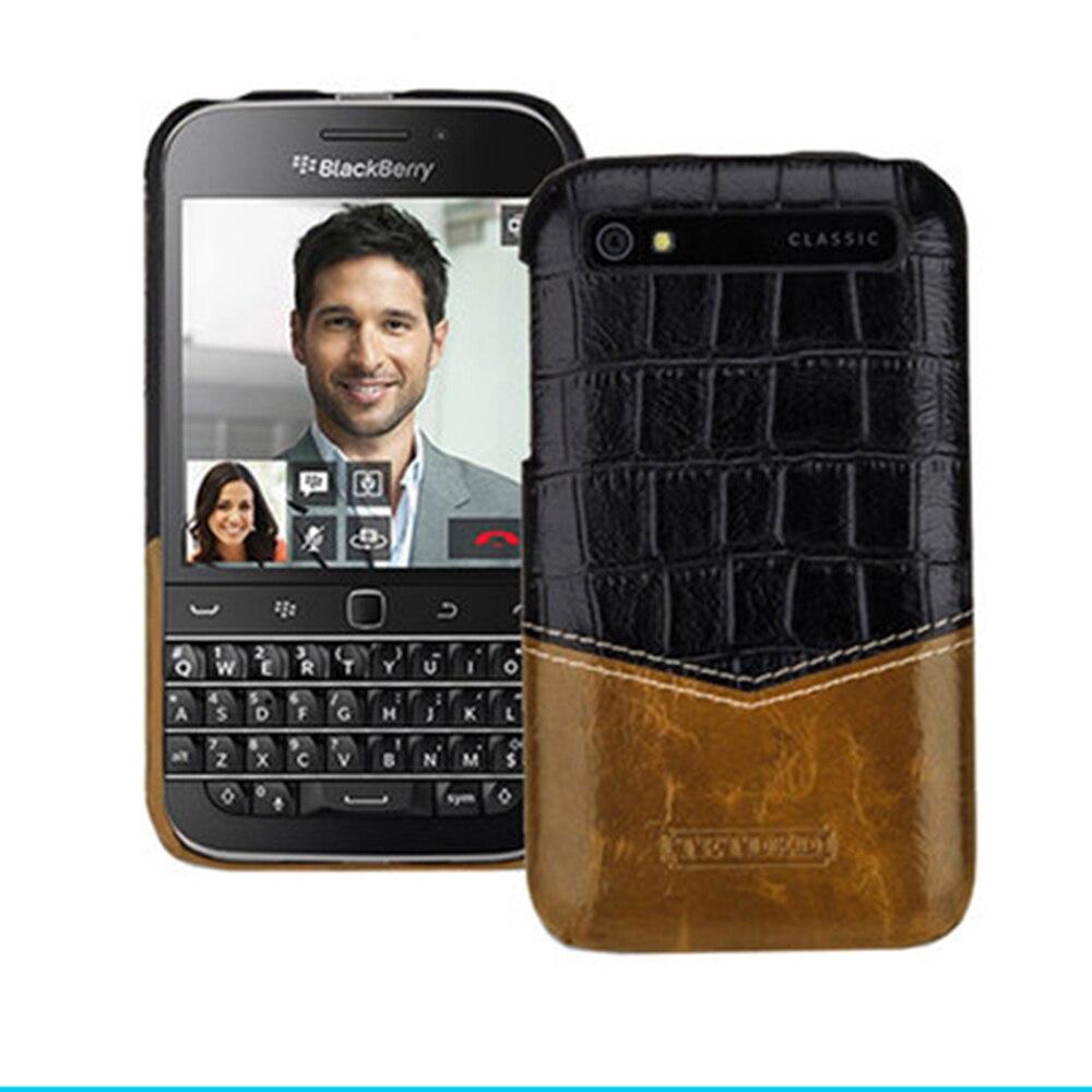 Étui en cuir véritable de qualité supérieure à motifs imprimés étui de protection Ultra-mince pour téléphone Blackberry Classic Q20