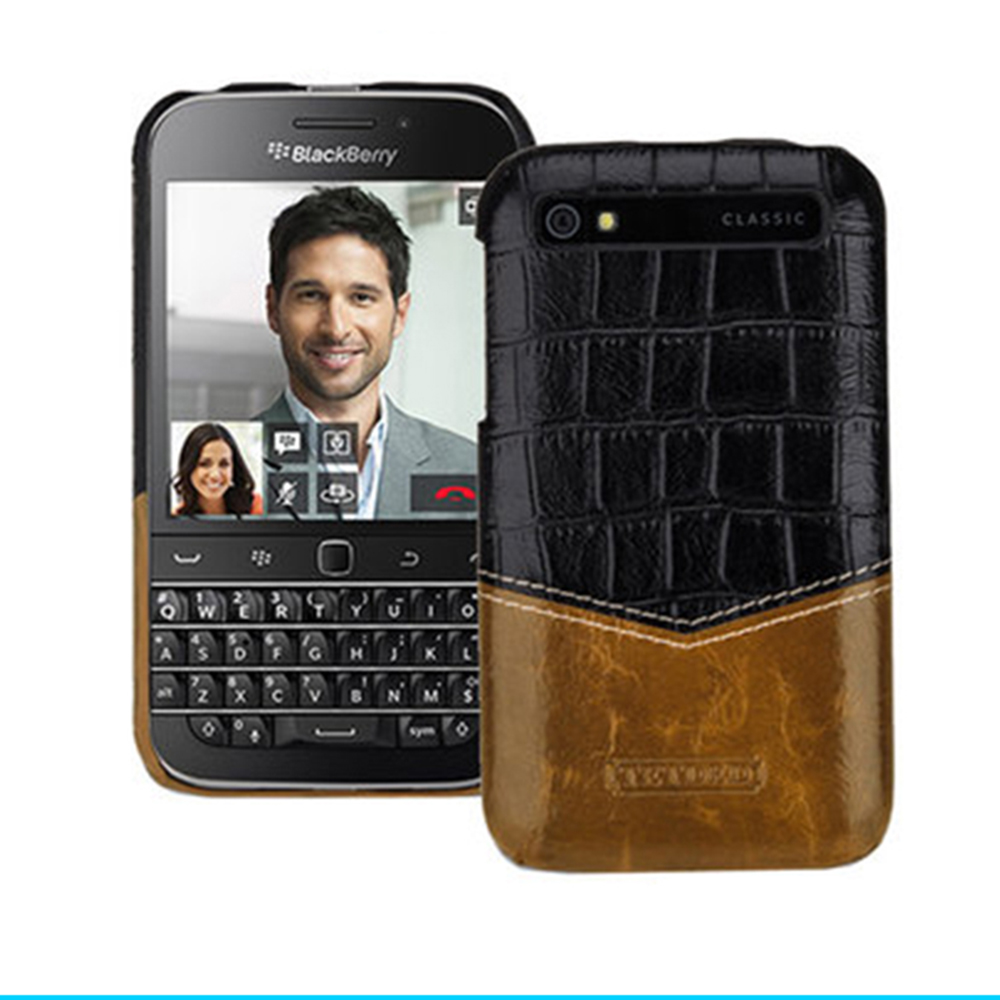 Top Grade Genuine Leather Case Patterned Prints Ultra thin Back Phone Protective Cover For Blackberry Classic Q20 Case