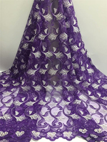 5Yards/lot 2018 High Quality Nigerian French Lace African Lace Fabric For Men/Women Dress Africa Tulle Lace Fabric Purple Color
