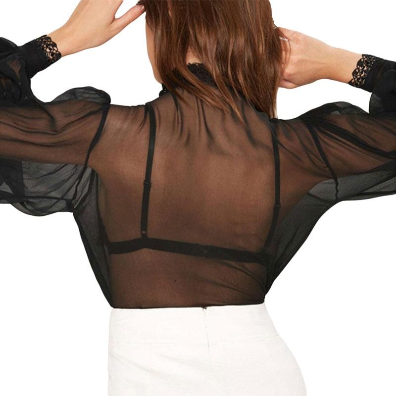 HDY Women Black Sheer Blouse Shirts Lantern Sleeve Bow Tie Lace up Sexy Lady Shirts Bowknot Elegant Female Tops Blusas Femininos 9