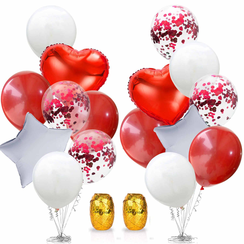 18 pièces 10 pouces gemme rouge Latex ballons amour coeur feuille ballons proposition de mariage décorations saint valentin nuptiale douche décors