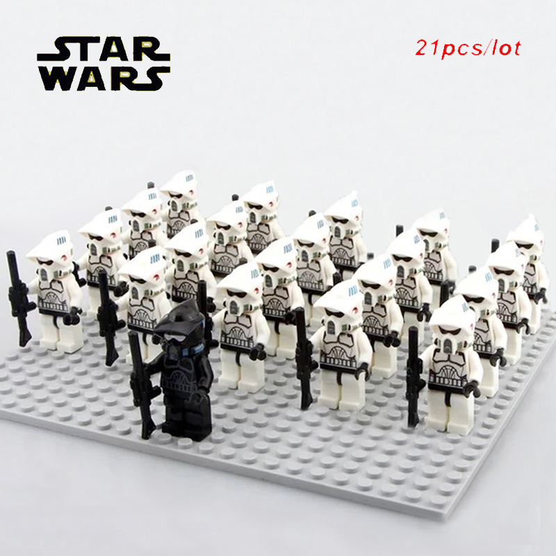 21pcs/lot Starwars Scout ARF Shadow Imperial Clone Trooper Soldiers Special Offer Commander Mini Action Doll Figure Block Toys