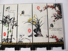 Desk decorative chinese Lacquer ware painting-Mei, orchid,bamboo,chrysanthemum folding screen