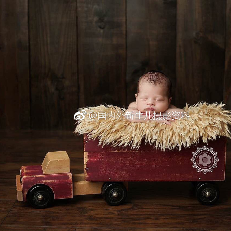 Newborn Photography Wood Basket Props Baby Girl Boy Truck Lorry Theme Photo Shoot Accessories Newborn Fotografia Studio Props