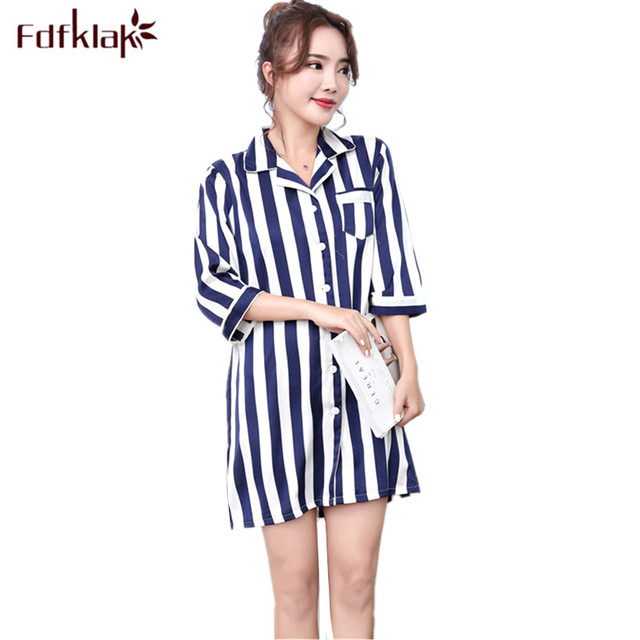 Fdfklak Summer Night Shirt Women Casual Silk Satin Short Nightgowns Female  Nightwear Striped Nightshirts Women s Sleepwear 2787a657b