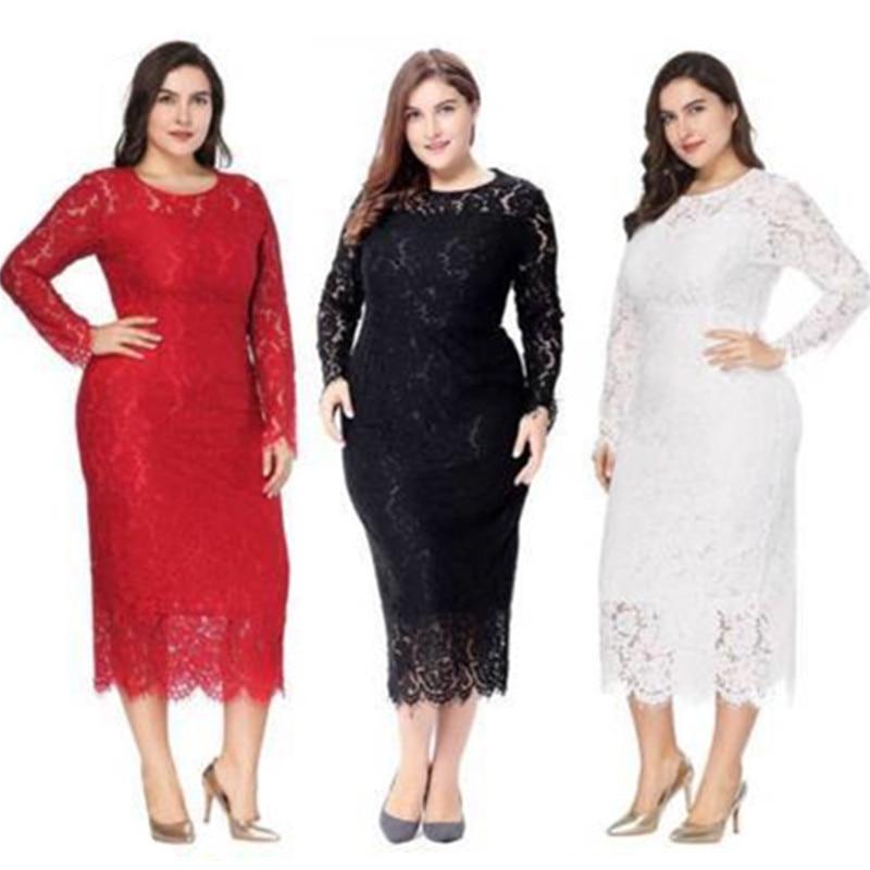 Women Plus Size Elegant Evening Dresses 2020 Cheap Full Lace Cocktail Party Gowns White Formal Dress Long Sleeve Robe De Soiree